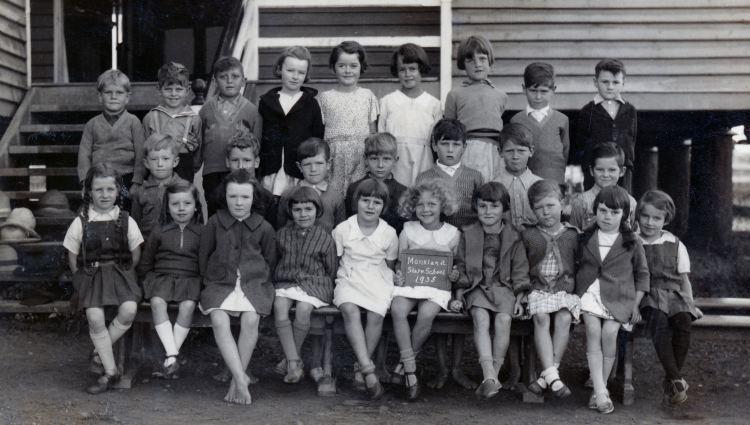 Brooloo School - Mervyn Bath (Back row on right) 1935 - Gympie Regional Libraries collection