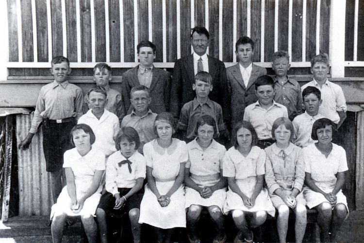 Brooloo School - Tom Bath teacher Ron Bath to right of Tom - Gympie Regional Libraries collection