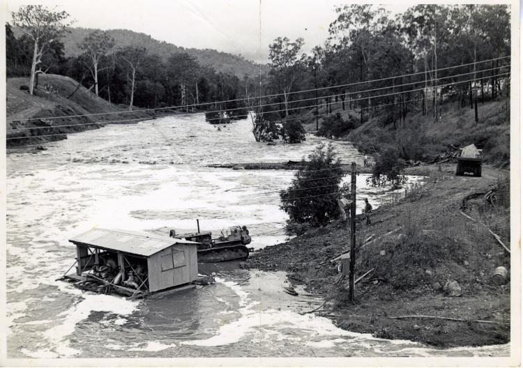 Yabba Creek in flood (196-) during build of Borumba Dam 1960-1964 - donated by Keith Buchanan