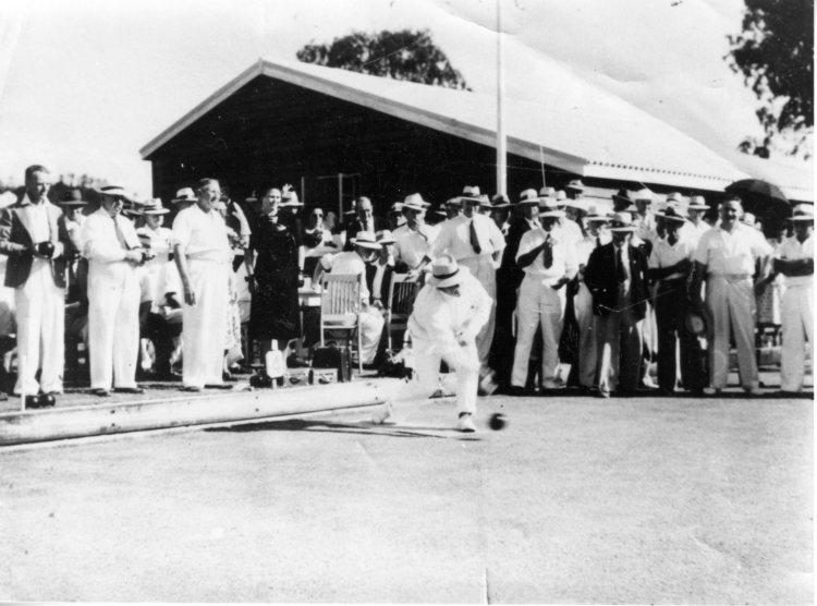 First bowl at the opening of Kandanga Bowling Green, Kandanga Bowls Club - Gympie Regional Libraries