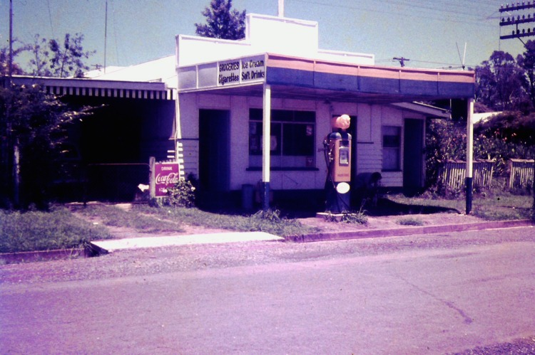 Amamoor General Store & Golden Fleece Petrol Pump, ca 1970- photograph by John Kington - John Oxley Library, State Library of Queensland