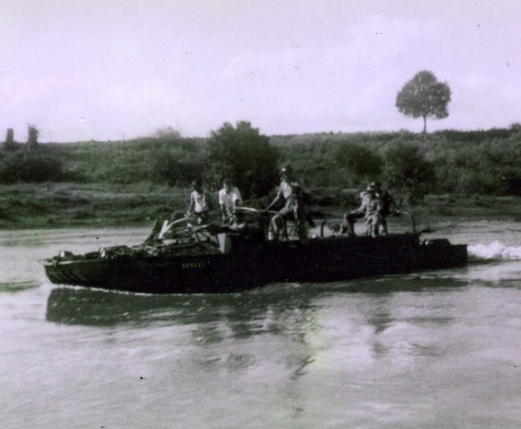 Army duck - Yabba Creek - during 1955 flood - Keith Buchanan is onboard - donated by Keith Buchanan