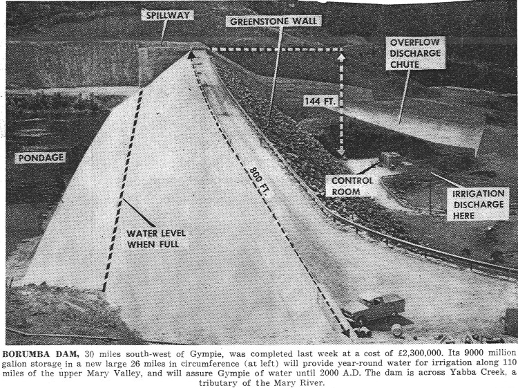 Borumba Dam, completion last week. Photo of spillway, greenstone wall, overflow discharge shoot, pondage - Gympie Times 1964