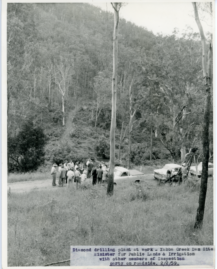 Borumba Dam - Minister or public lands & irrigation - A Muller and other members of the inspection party - Yabba Creek Dam site - 22-2-1959