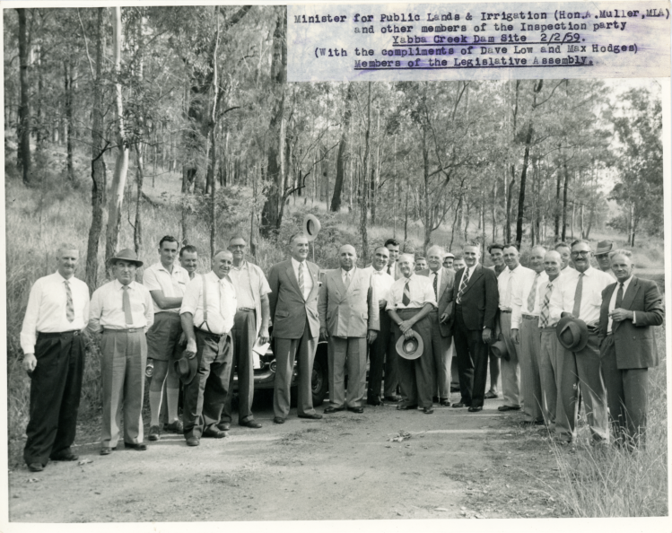 Borumba Dam - Minister or public lands & irrigation - A Muller and other members of the inspection party - Yabba Creek Dam site - 22-2-59