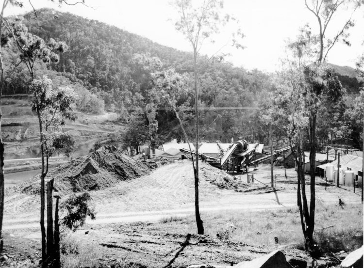 Borumba Dam under constuction - John Oxlery Library, State Library of Queensland #34842