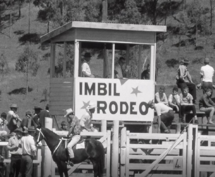 Rodeo stand at the Imbil show 1966 Originally a news broadcast on Wide Bay Television. This photo was taken from a film whichs was originally produced by WBQ 8 and was reproduced as 7 Extract from the Archives project. The project was supported by an innovation grant from the Library Board of Queensland. © 2020 Seven Network and Gympie Regional Libraries