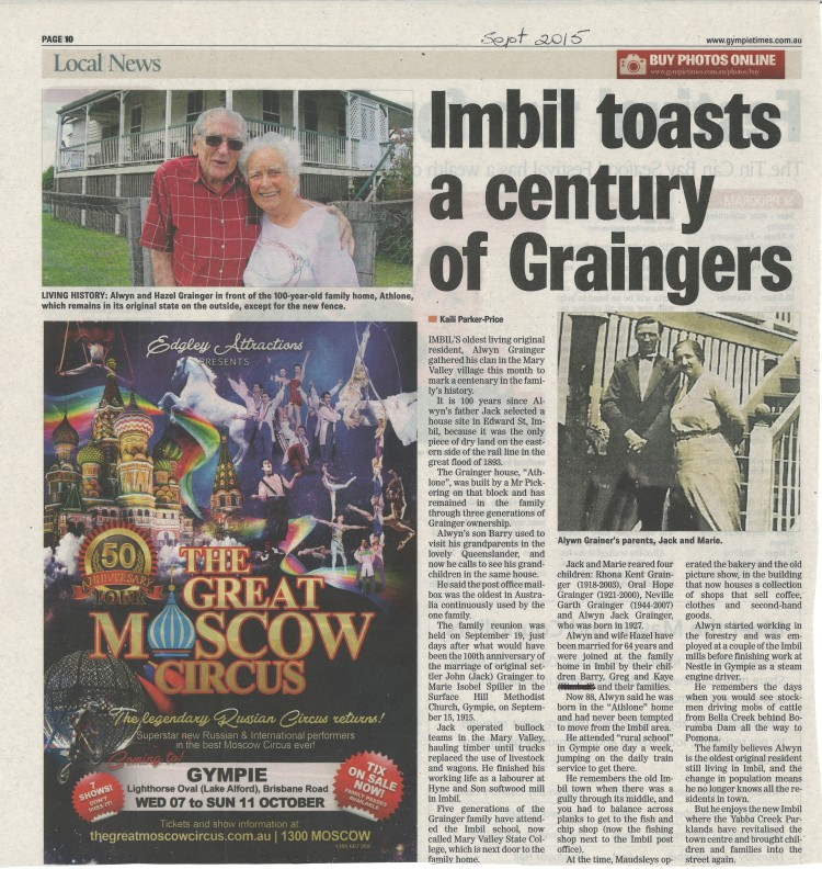 Imbil toasts a century of Graingers - Gympie Times Sept 2015 page 10 - donated by Barry Grainger