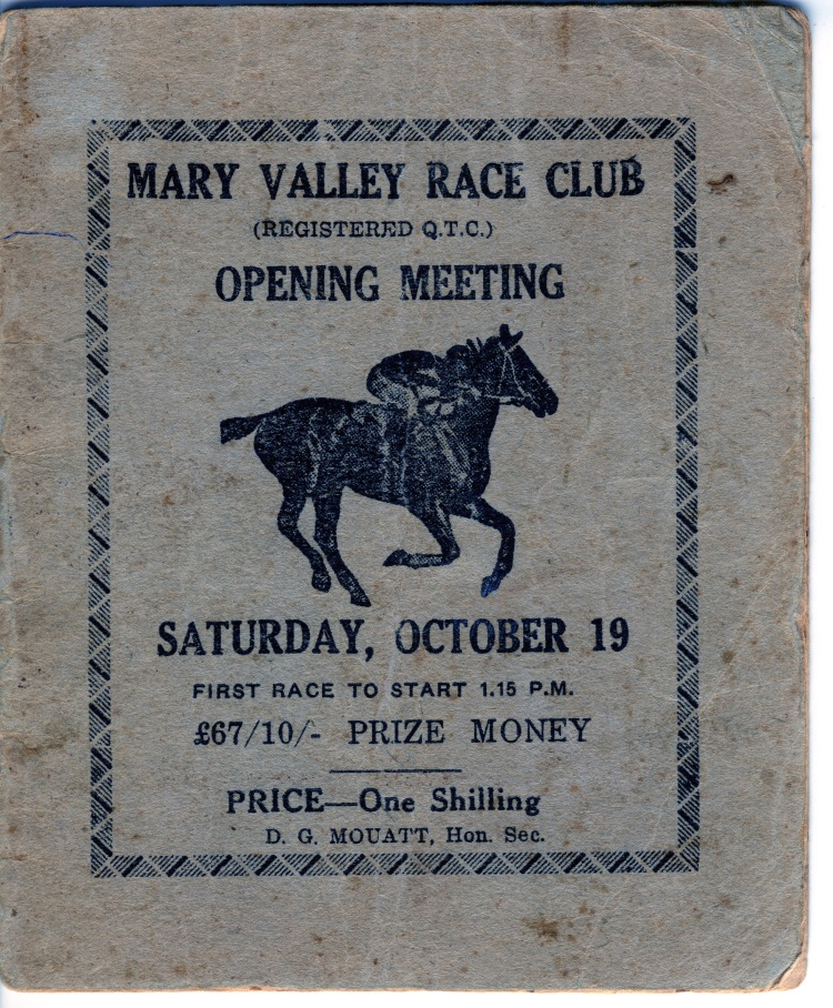 Mary Valley Race Club program - donated by Kaili Parker-Price
