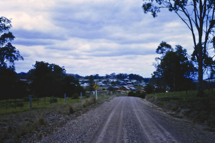 Road leading into Amamoor, ca 1970 - photo by John Kington - John Oxley Library, State Library of Queensland