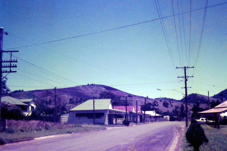 Street in Amamoor, ca 1970 - photo by John Kington - John Oxley Library, State Library of Queensland.