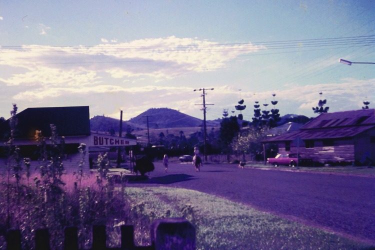 Street view in Amamoor, ca 1970 - photo by John Kington - John Oxley Library, State Library of Queensland.