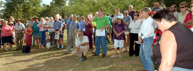 Mr David Gibson (in green) (State MP for Gympie 2006-2015) - Ms Glenda Pickersgill (in white) - Traveston Dam protest - April 2006 - Gympie Times collection