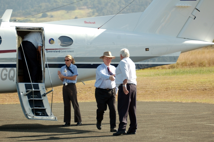 Former Premier Peter Beattie (State MP 1998-2007), Mr Mick Venardos (Mayor of Cooloola/Gympie 1997-2008) meet at the airport - Traveston Dam protest - April 2006 - Gympie Times collection