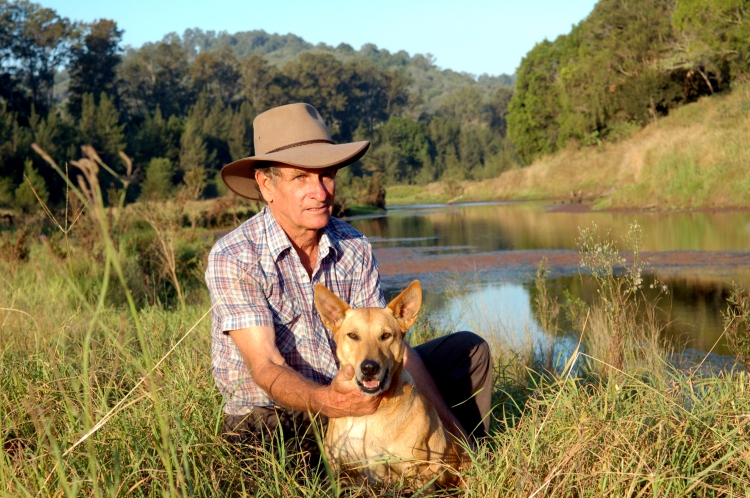 Alan Holznagel with dog near the proposed new dam site - Traveston Dam protest - April 2006 - Gympie Times collection