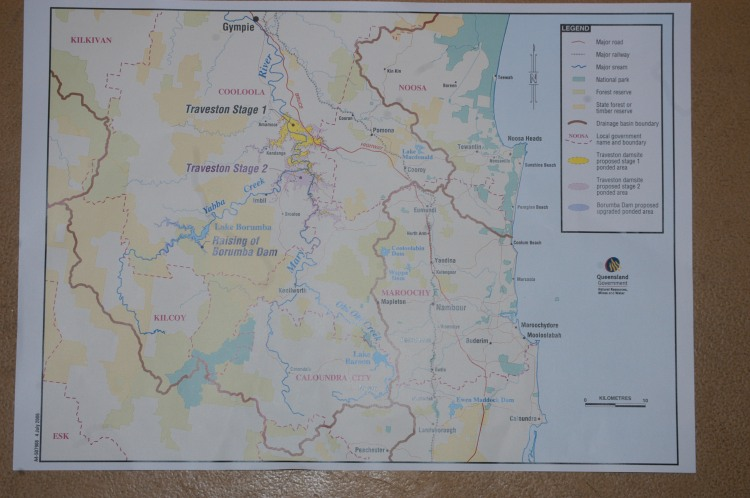 Map of the proposed Traveston Dam - Traveston Dam protest - July 2006 - Gympie Times collection