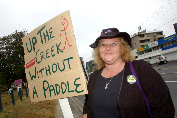 Lauretta Clark at the Anti Dam Rally in Brisbane at the Anti Dam Rally - Traveston Dam protest - June 2006 - Gympie Times collection