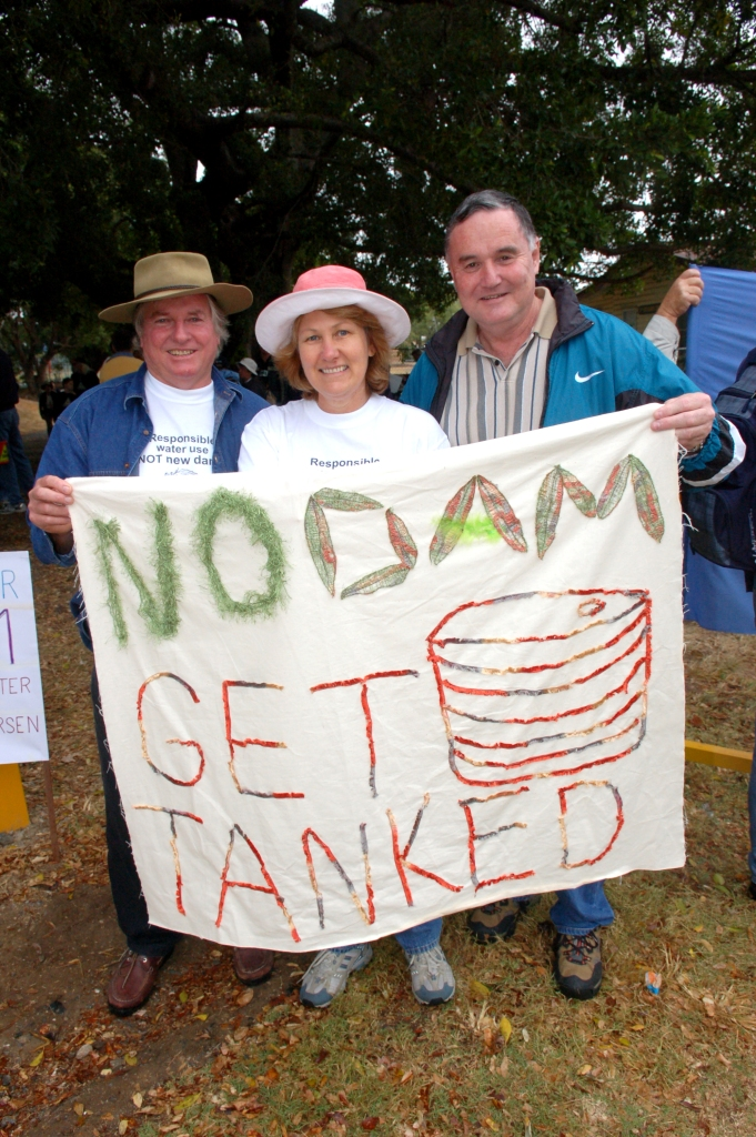 John and Robyn Dorinski from Kandanga with friend Keith Hutchinson from Gladstone at the Anti Dam Rally - Traveston Dam protest - June 2006 - Gympie Times collection