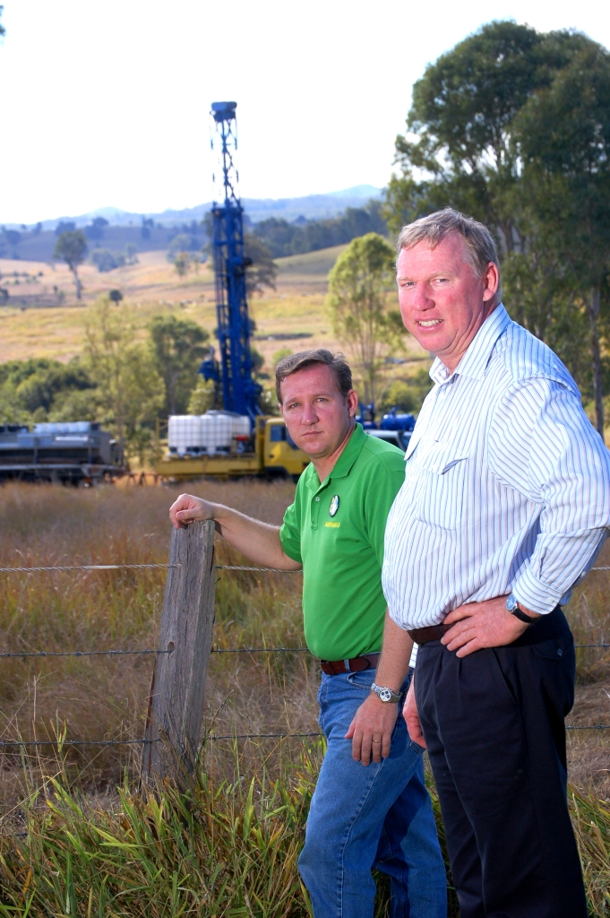 David Gibson (Member for Gympie 2006-2015) and Jeff Seeney (Liberal/National party 1998-2017) look over the latest site of drilling operations on the western side of Traveston Crossing - Gympie Times collection