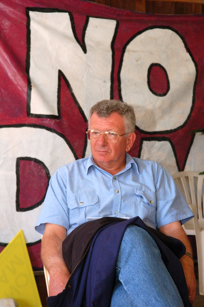 Rick Elliot ponders the next step - - Traveston Dam protest - June 2006 - Gympie Times collection