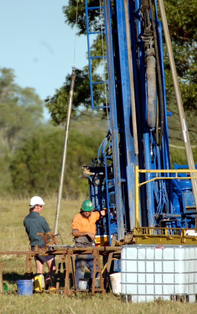 Drillers on the Traveston Dam site - Gympie Times collection
