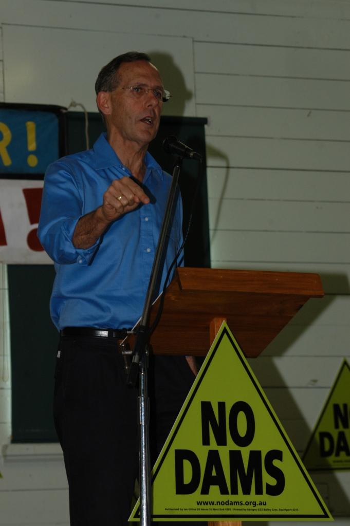 Greens Senator, Bob Brown (Greens Senator 1996-2012) - Traveston Dam protest - May 2006 - Gympie Times collection